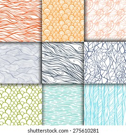 Abstract doodle seamless patterns set. 9 hand drawn backgrounds. Template for your design. Vector illustration