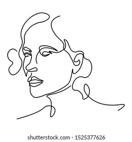 Abstract doodle sketch portrait of female face with head, hair and neck in several continuous lines, stylized art, graphic illustration on white background