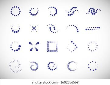 Abstract Dot Circle Icons Set. Halftone Logo Concept.