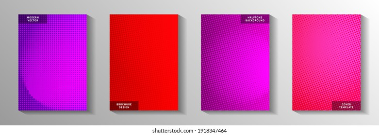 Abstract dot faded screen tone title page templates vector series. Digital catalog perforated screen tone backdrops. Vintage manga comics style cover page leaflets. Gradient design.