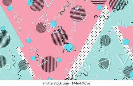 Abstract dots background. Memphis pattern. Vector Illustration. Hipster style 80s-90s pattern. Abstract colorful funky background.