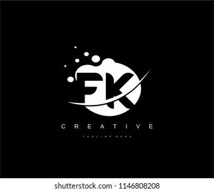 Abstract Dots Letter FK Swoosh Logo Design