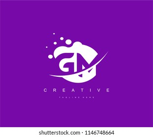 Abstract Dots Letter GM Swoosh Logo Design
