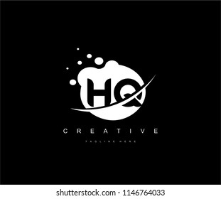 Abstract Dots Letter HQ Swoosh Logo Design