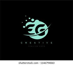 Abstract Dots Letter EG Swoosh Logo Design