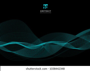 Abstract dots pattern blue particle waves on dark background with copy space. Vector graphic illustration