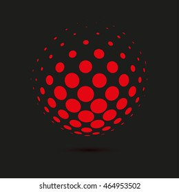Abstract dotted background. Halftone effect vector background. Dotted sphere