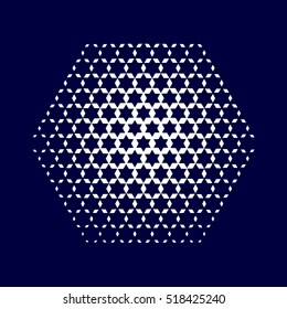Abstract dotted background. Halftone effect vector illustration. Hexagon with blue Jewish stars.