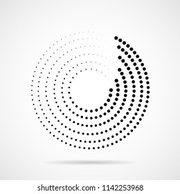 Abstract dotted circles. Dots in circular form. Halftone effect. Vector