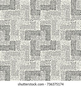 Abstract Dotted And Cross Dashed Strokes Textured Subtle Checked Motif. Seamless Pattern.