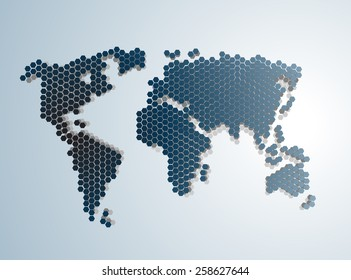 Abstract Dotted  graphic World map vector illustration.