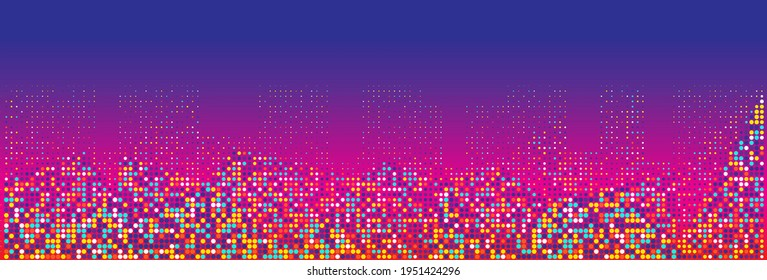 Abstract dotted halftone background. Horizontal vector illustration. Banner, cover, header, footer wide template. Abstract night cityline halftone banner.