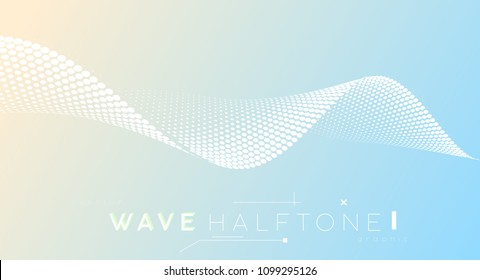 Abstract dotted halftone wave, business background. Curved dots plane symbolized movement, flow motion.