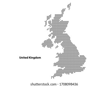 Abstract Dotted map of United kingdom planet, lines, global world halftone concept. Vector illustration