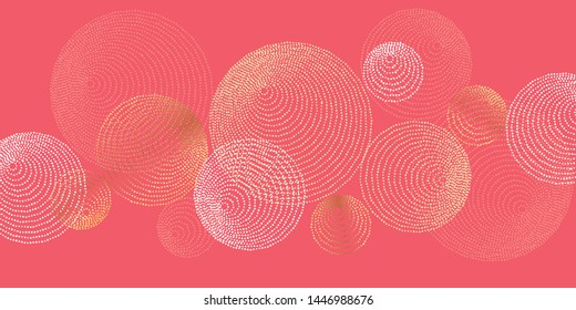 Abstract dotted round lines boho vibes pattern. Vector illustration element for header, decor, card, invitation. Disk and ring tribal graphic shapes in gold and coral color.