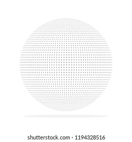Abstract dotted sphere. Vector illustration. 3d halftone dot effect. Black dots in white background.