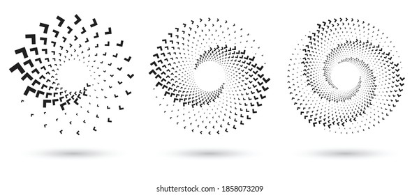 Abstract dotted vector background. Halftone effect with arrows. Spiral arrow dotted background or icon. Yin and yang style.