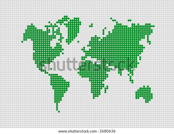 Abstract dotted world map. Made with dots. Grouped for easy color change.