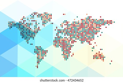 Abstract dotted world map on a polygonal background. Editable vector