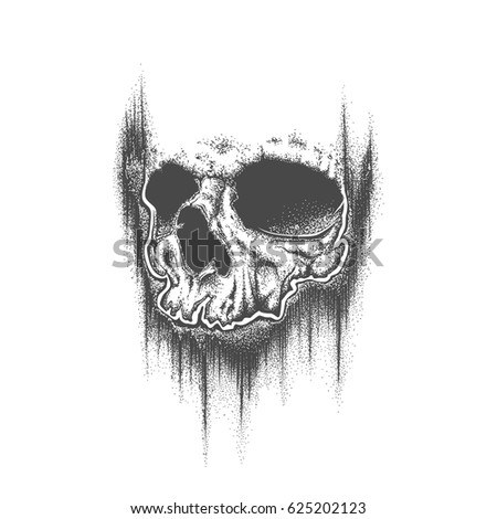 abstract dotwork grunge skull template tattoo stock vector royalty