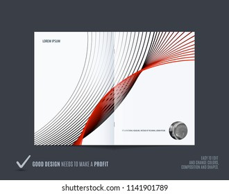 Abstract double-page brochure design soft style with colourful lines waves for branding. Business vector presentation broadside.