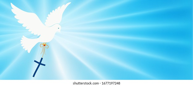 Abstract dove flying and carrying a Christian cross. Christian symbol. Light blue background with bright rays. Easter.Symbol of purity.Christian faith. Baptism.Holy Spirit. Evangelization