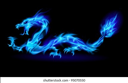 Abstract Dragon. Illustration on black background for design