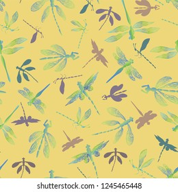 Abstract dragonflies with lace design wings and their silhouettes on a summery yellow background. Seamless vector pattern. Ideal for home decor, apparel, paper goods, packaging.