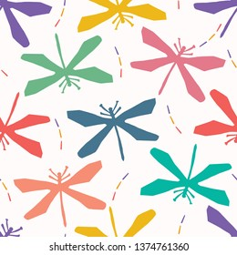 Abstract dragonfly cut out shapes. Vector pattern seamless background. Hand paper cutting wings matisse style. Collage graphic illustration. Trendy flying animal home decor, kid nature fashion print.