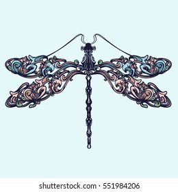 Abstract dragonfly  isolated. Hand-drawn vector illustration.