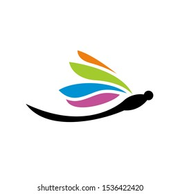 Abstract Dragonfly Logo Design Template