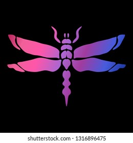 Abstract dragonfly symbol in neon colors, design element. Can be used for invitations, greeting cards, scrapbooking, print, labels, emblems, manufacturing. Insect theme