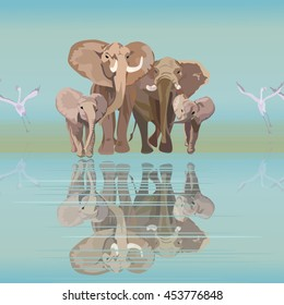 Abstract draw of elephant family (mom dad kids) at watering, background of  blue sky and  lake, two white flamingo, safari in Africa, color vector  fashion design print, seamless pattern, free animals