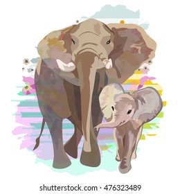 Abstract draw of elephant family (mom and baby), background colorful striped watercolor stains, safari in Africa, color vector  fashion design print pattern, free animals, Isolated on white
