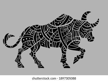 Abstract drawing. Bull. Black and white.
