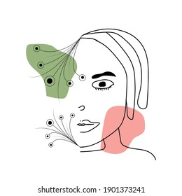 Abstract drawing face one line art with flowers.Two geometric elements with pastel colors - green, red