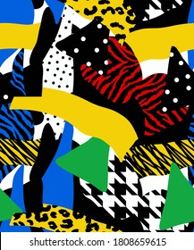 Abstract Drawing Geometric Patchwork with Zebra Leopard Animal Skin Hounds Tooth Shapes Repeating Vector Pattern Colorful Background