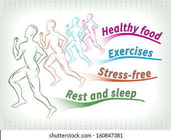 Abstract drawing of healthy lifestyle factors. Four runners have branches with requirements for healthy life.