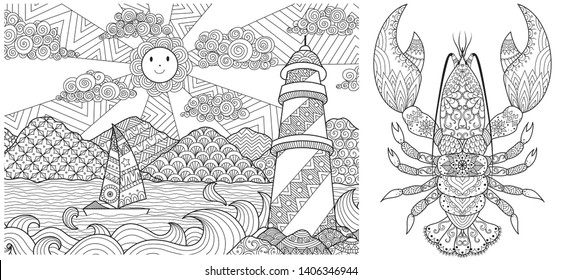 Abstract drawing of lighthouse with beautiful landscape and lobster collection for print on stuff, adult coloring book, coloring page and so on. Vector illustration
