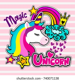 Abstract drawing for t-shirts. Cartoon colorful magic Unicorn for girl kids desing. Fashion illustration drawing in modern style for clothes. Girlish print