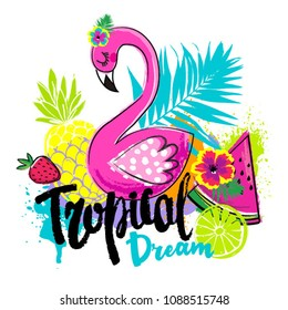 Abstract drawing for t-shirts with pink flamingo and summer fruits. Creative design for girl. Fashion illustration in tropical style on white background.