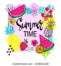 Abstract drawing for t-shirts with summer fruits. Summer design for girl. Fashion illustration in tropical style