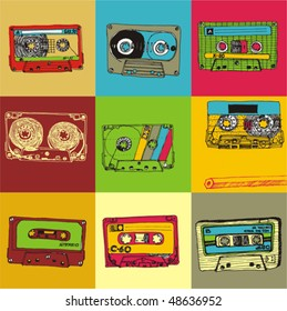 abstract drawn retro cassette tape