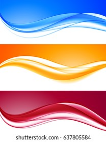 Abstract dynamic colorful wavy backgrounds set with blue orange red curved lines in elegant smooth style. Vector illustration