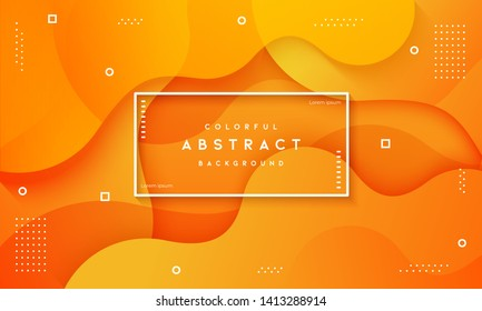 Abstract dynamic fluid overlap textured orange background