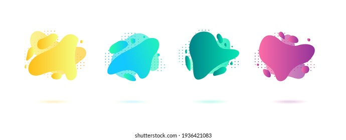 Abstract dynamic gradient graphic elements in modern style. Banners with flowing liquid shapes, amoeba forms. Logo, flyer, presentation, invitation, card template. Vector illustration.