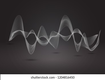 Abstract dynamic line on balck background. Can be used for digital equalizer, sound wave or infographic and timeline elements.
