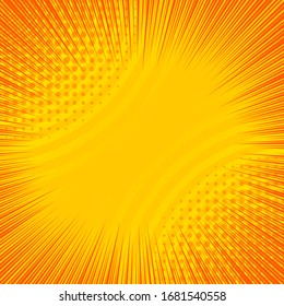 Abstract dynamic orange background with circles rays and halftone effects. Vector illustration
