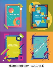 Abstract Dynamic Shape Vector Frame Set, Vector Illustration.