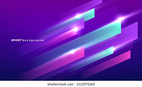 Abstract dynamic shapes for sport event. Modern colored poster for sports.